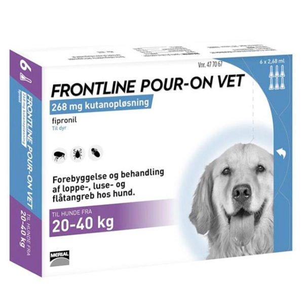 FRONTLINE POUR ON VET Hunde fra 20 40 kg, 6 pipetter