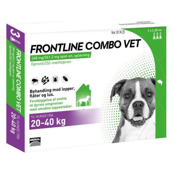 Frontline Combo Vet Hund 20 40 kg 3 pipetter 2,68 ml