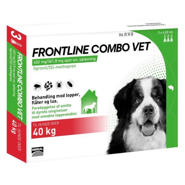 Frontline Combo Vet Hund over 40 kg. 3 pipetter 4,02 ml