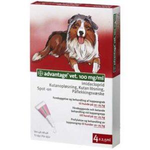 Advantage vet. 4x2,5 ml. til hunde på 10 25 kg. Advantage vet, Loppemidler hund, Lopper & Legetøj