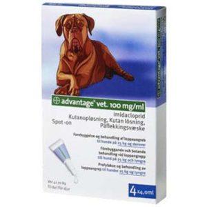 Advantage vet. 4x4,0 ml. til hunde på 25 kg og derover Advantage vet, Loppemidler hund